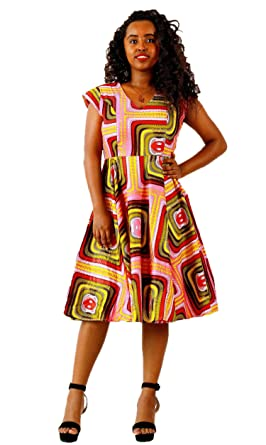 db156e45932 FANS FACE Women s African Print V Neck High Waist Loose Casual Midi Dress  A-line