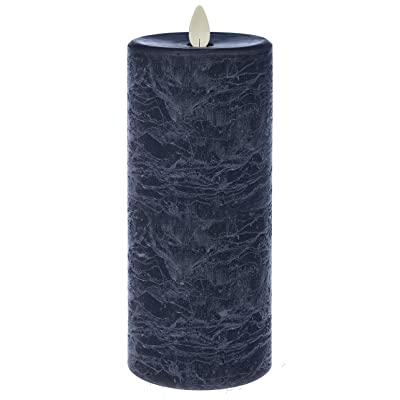 Ganz LED Textured Pillar Marbled Blue 7 x 3 Wax Flameless Candle with Timer: Home Improvement