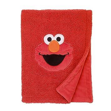 Amazon.com   Sesame Street Elmo Red Soft Plush Sherpa Toddler Blanket with  Applique 47936526e
