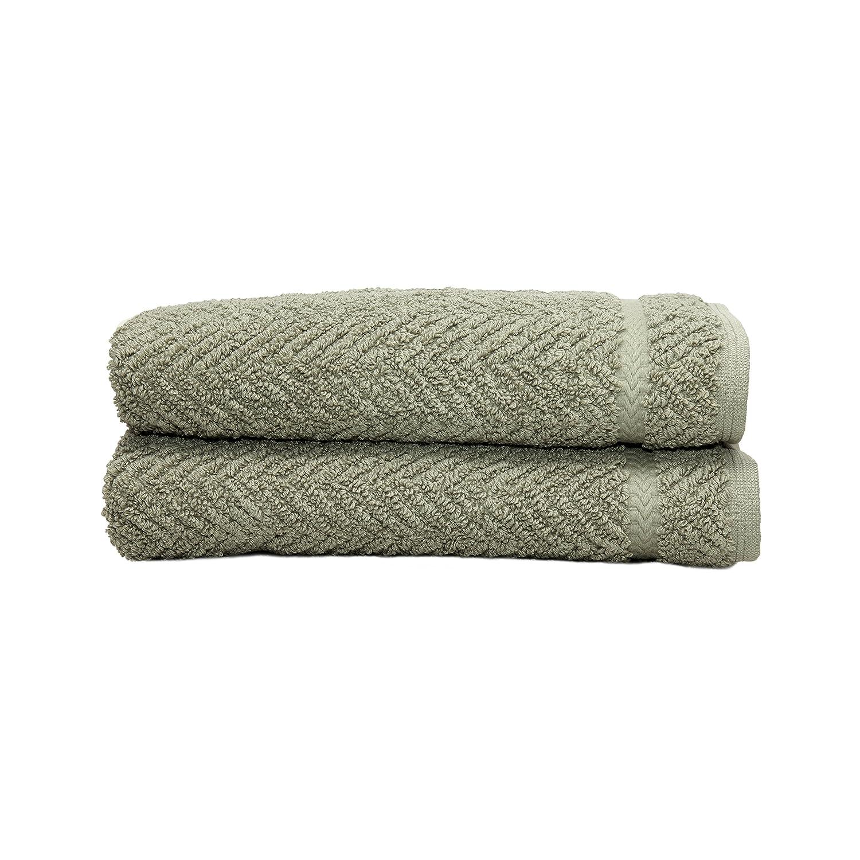 Linum Home Textiles 100% Turkish Cotton Herringbone Hand Towels, Aqua Blue, 2 Piece HB40-2HT