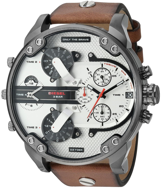 Diesel Men's Analog-Quartz Watch with Leather Calfskin Strap DZ7394:  Amazon.co.uk: Watches