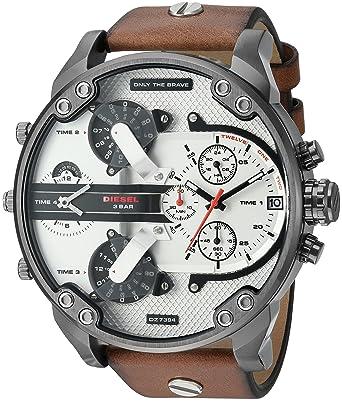 45a2084d0 Amazon.com: Diesel Men's DZ7394 Mr. Daddy 2.0 Gunmetal IP Brown Leather  Watch: Diesel: Watches