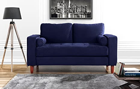 Review Couch for Living Room, Tufted Velvet Fabric Sofa with Back Cushions, Tufted Bottom and 2 Extra Cushions (Navy)