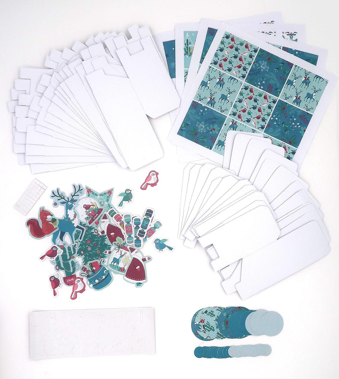 Papier Bo/îtes carr/és blanches 5,5 x 5,5 x 5,5 cm Toga Un Renne /à No/ël Kit calendrier de lavent Multicolore