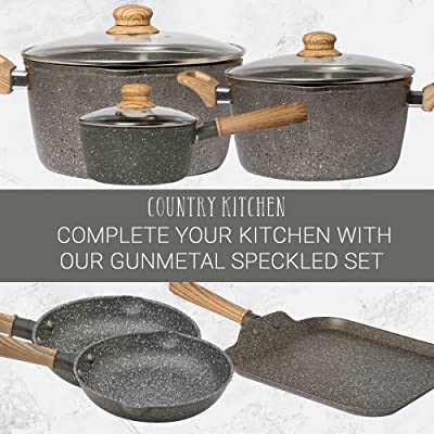 Buy Country Kitchen Cookware Forged Aluminum Dutch Oven 10 Quart Speckled Pot With Handles And Glass Lid Gunmetal Online In Turkey B08tx7265p