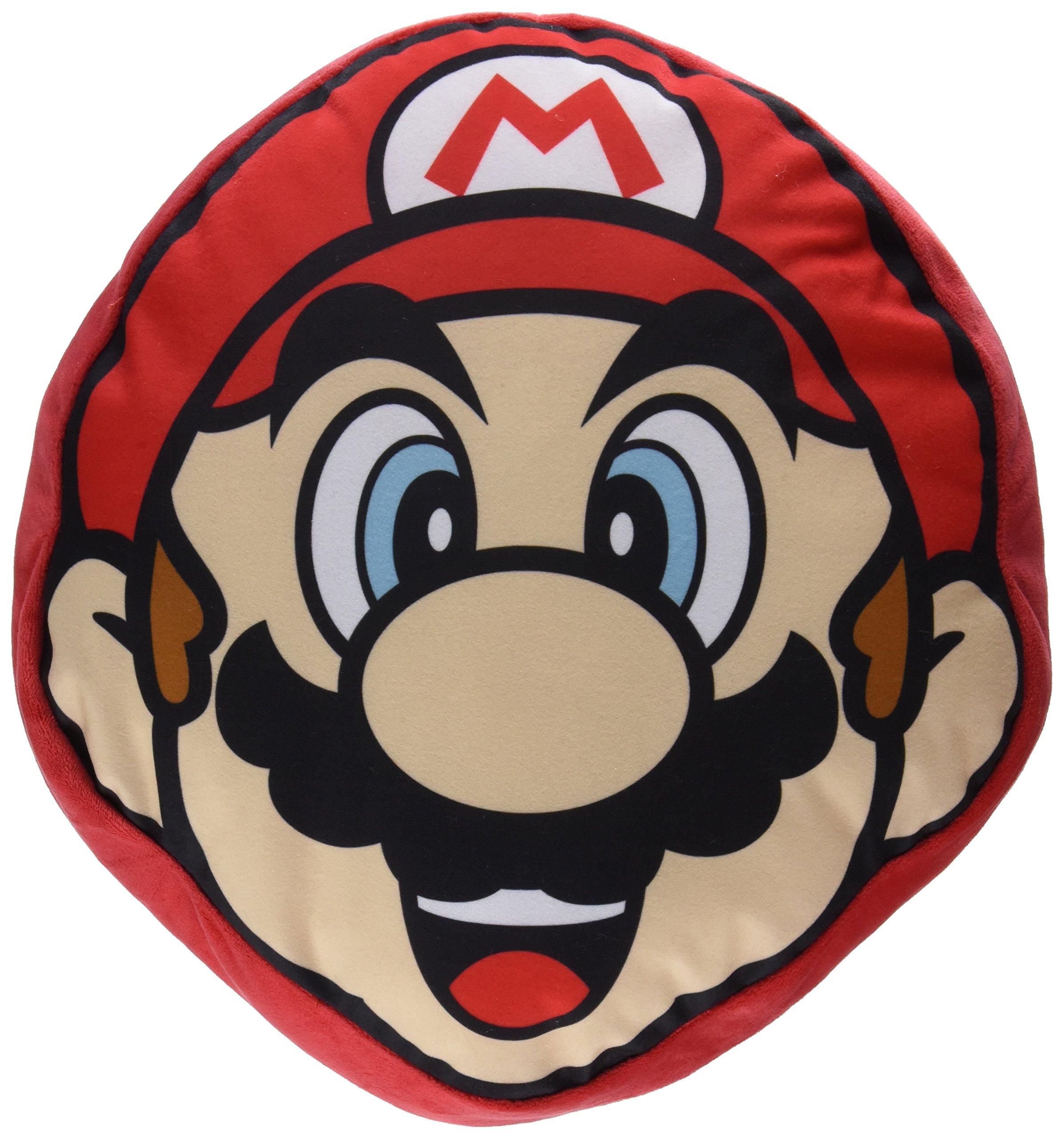 Little Buddy Super Bros. 1259 Mario Face Cushion Pillow Stuffed Plush, 11''