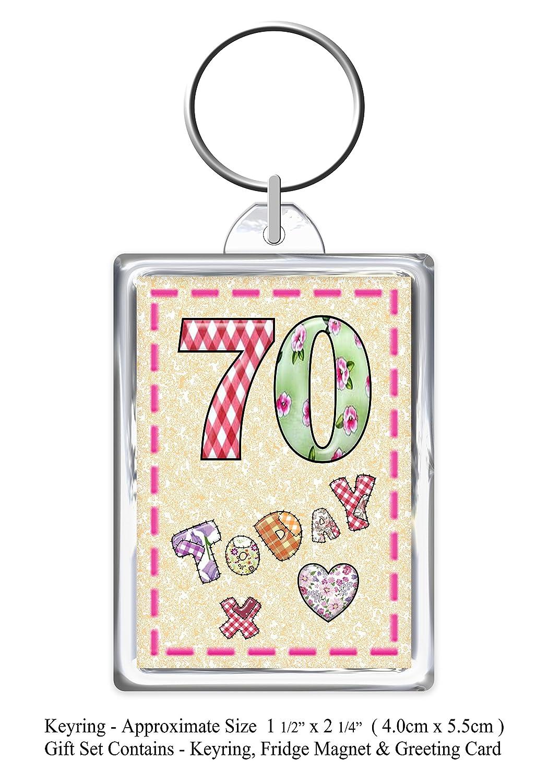 Keyring /& Magnet Lovely You Present Card 70th Nanny Happy Birthday Gift Set