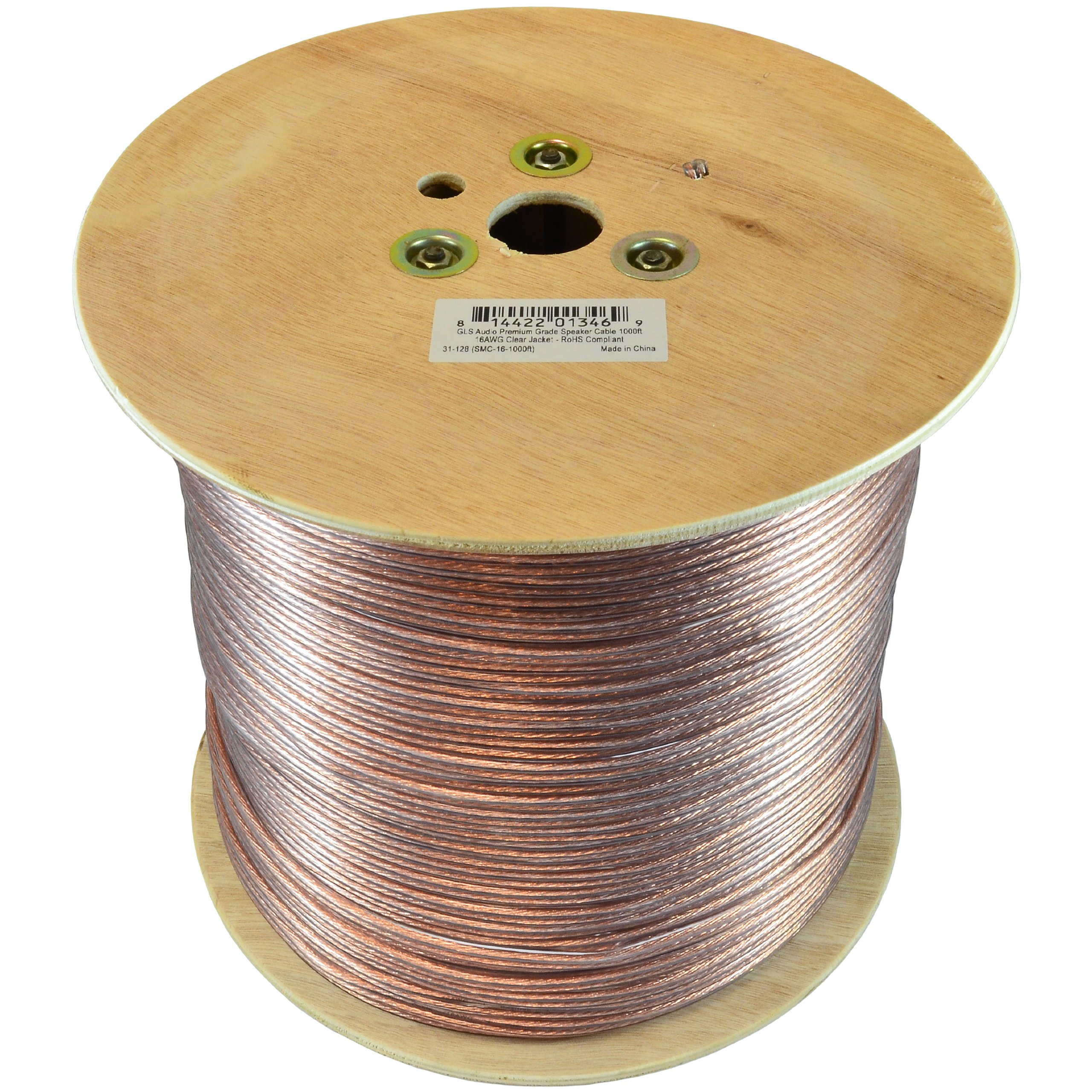 GLS Audio Premium 16 Gauge 1000 Feet Speaker Wire - True 16AWG Speaker Cable 1000ft Clear Jacket 1000' Spool Roll 16G 16/2 Bulk by GLS Audio