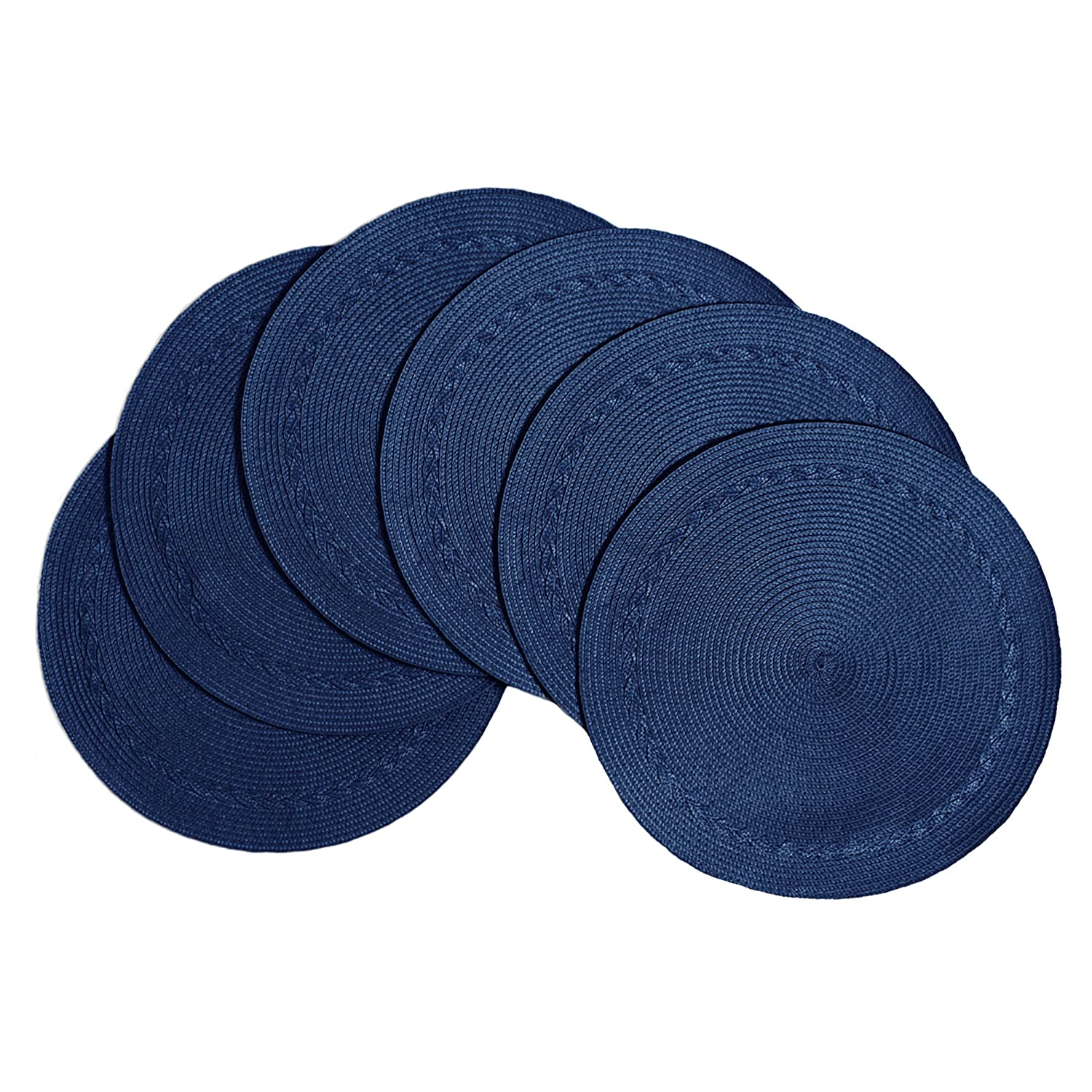 "Benson Mills Braided Edge Round Placemats (Set of 6), 15"", Navy"