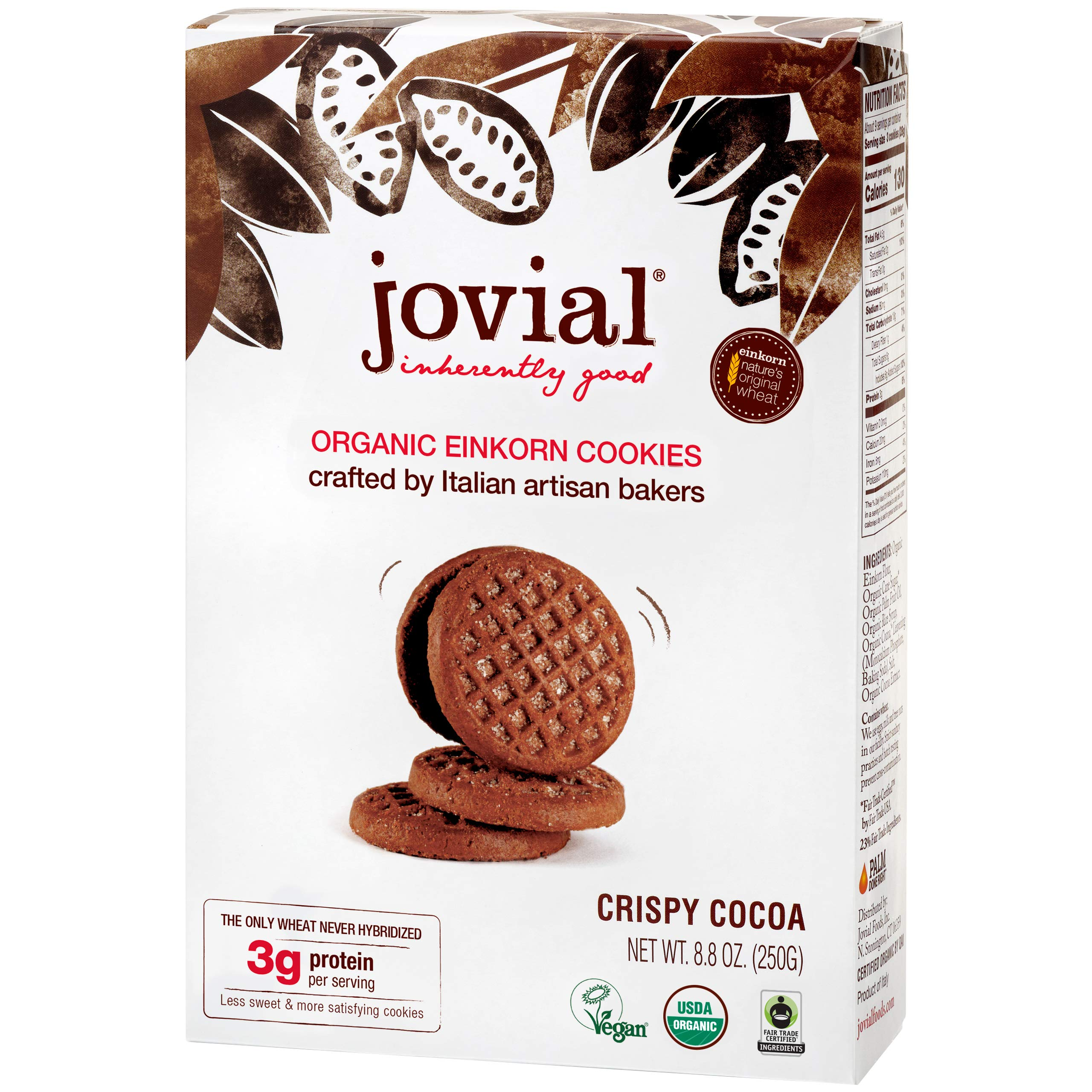 Jovial Einkorn Cookies | Crispy Cocoa Cookies | USDA Certified Organic | High Protein | Fair Trade Certified | All Natural Ingredients | Low Carb | Low Sugar | Palm Done Right | 8.8 oz (2 Pack)