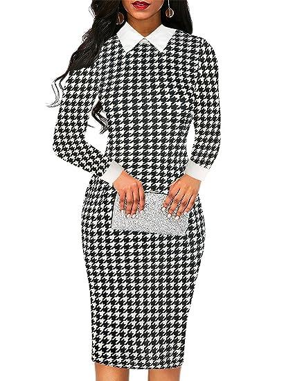 8cc42d22bf oxiuly Women's Vintage Bodycon Office Work Pencil Dress Party Midi Bodycon  Dress OX275