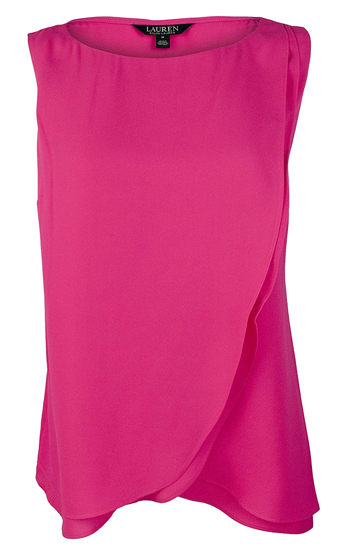 Lauren Ralph Lauren Womens Alydon Layered Sleeveless Blouse Pink XL