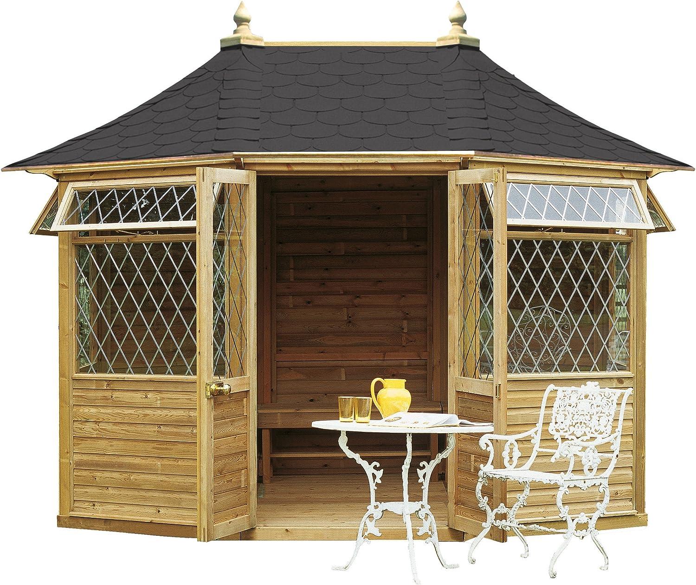 Quiosco de madera de forma octogonal con balaustrada, lados ...