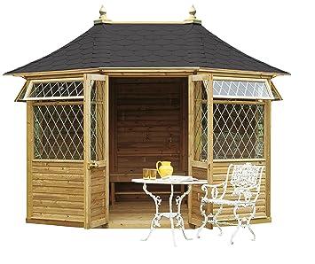 Quiosco de madera de forma octogonal con balaustrada, lados enrejados y suelo, techo de tejas de fieltro (altura 310 x 370 x 270 cm): Amazon.es: Jardín