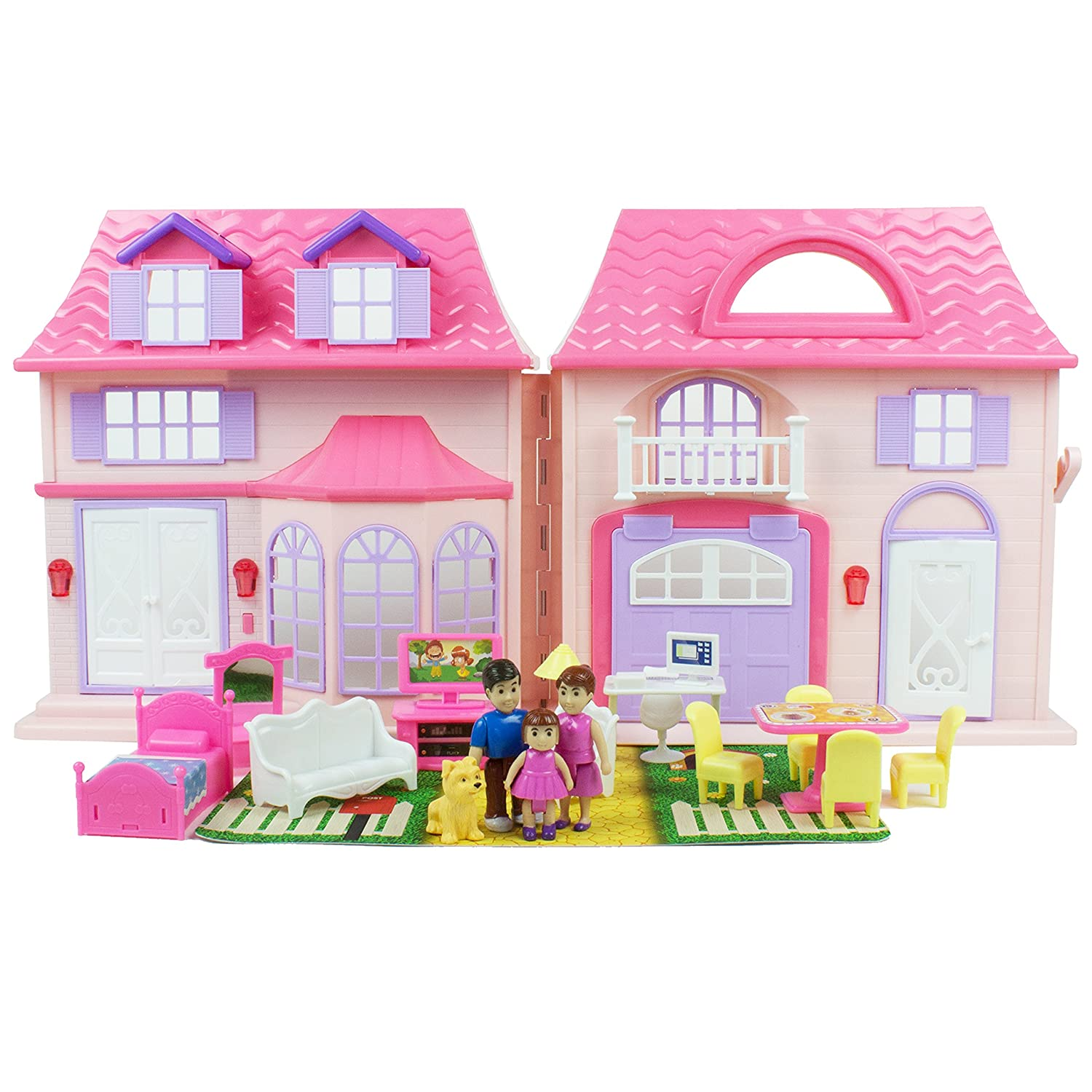 Boley Pretend Play American Doll House Toy Playset - 21 Piece Portable Dollhouse - Perfect Toddler Girls Playset - Toy Family, Pets, Kitchen Accessories, Lights, Sound, Doorbell, and More!