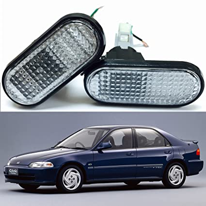 VXMOTOR 92 95 Honda Civic Clear Lens Flat Side Marker Lights Lamp  Replacement Fender JDM