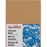 Speedball 4305 Premium Mounted Linoleum Block – Fine, Flat Surface for Easy Carving, Smoky Tan, 3 x 4 Inches
