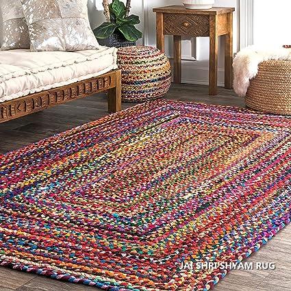 Jai Shri Shyam Cotton Chindi Braided Area Rug/Carpet/Handmade Floor Rug 3�5 ft