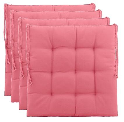 Cuscino decorativo per sedie / sedie da giardino con 9 punti di  imbottitura, disponibile in vari modelli, Poliestere, Salmon, 4er-Paket
