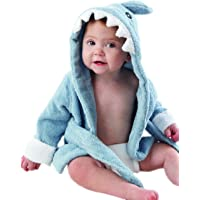 "Baby Aspen ""Let the Fin Begin"" Blue Terry Shark Robe, Blue, 0-9 months"
