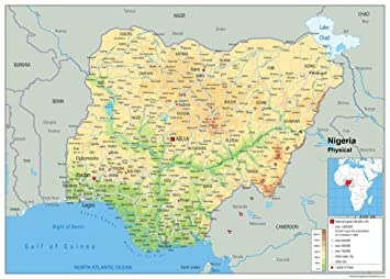 Nigeria Physical Map Paper Laminated A1 Size 594 x 841 cm