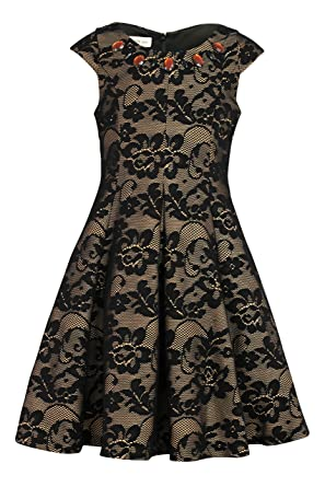 5994252cb2 Amazon.com  Bonnie Jean Big Girl s 7-16 Jeweled Lace Fit and Flare ...