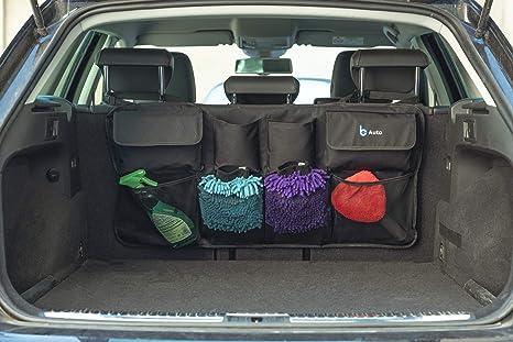 Bcauto Kofferraum Organizer Auto Mit Diversen Taschen Autotasche Mit Kopfstützenhalterung Und 3 Fach Klett Auf Rückseite Ordnungssystem Für Kofferraum Platzsparende Auto Aufbewahrungstasche Auto