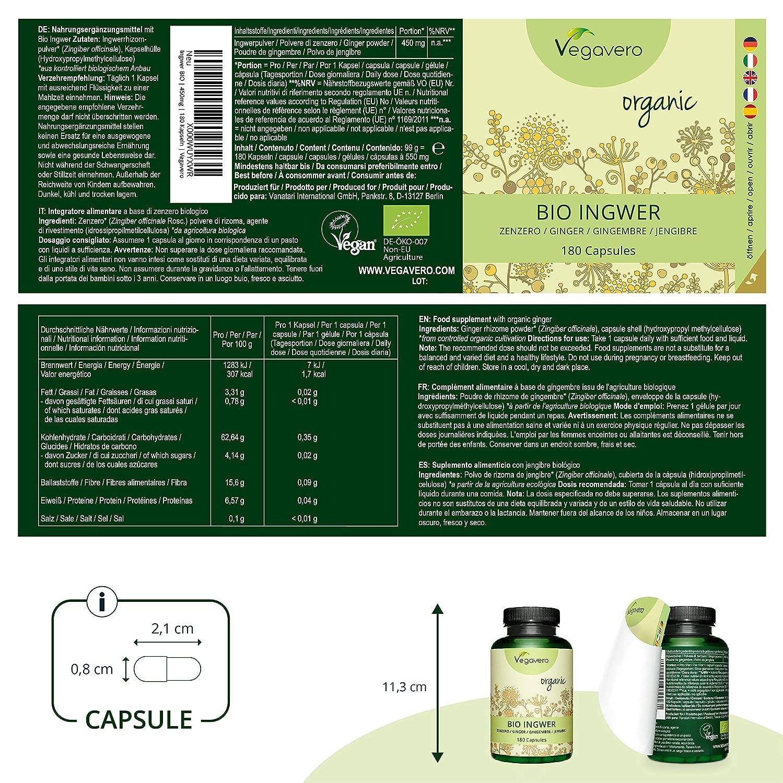 Jengibre Orgánico Vegavero® | Testado en Laboratorio + Sin Aditivos | Articulaciones + Digestión + Náuseas + Mareos | 450 mg | 180 Cápsulas | Ginger