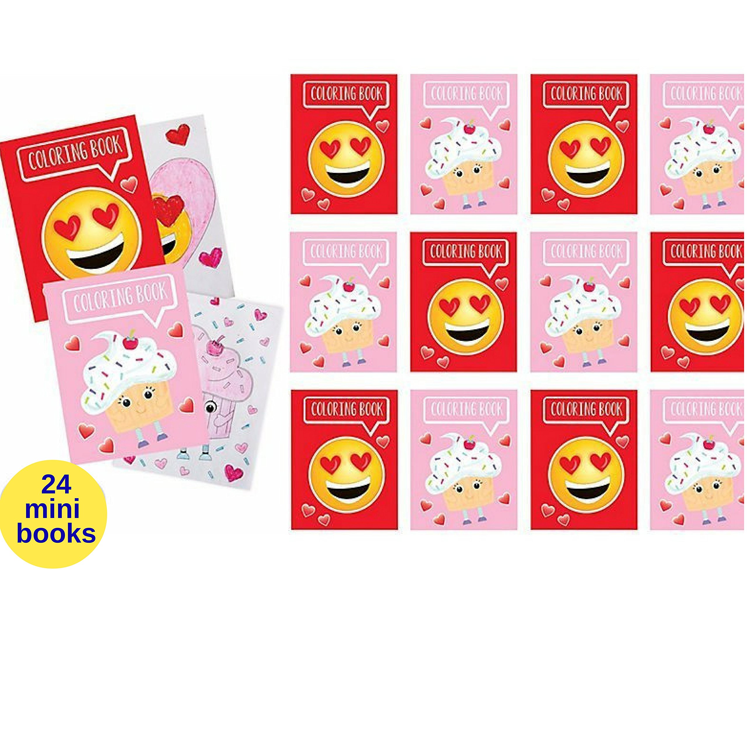 Valentines Emoticon Coloring Pages and Pencils, set of 48 pieces Party Favors by Custom Variety (Image #2)