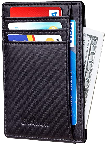 bfcf92479053 Chelmon Slim Wallet RFID Front Pocket Wallet Minimalist Secure Thin Credit  Card Holder