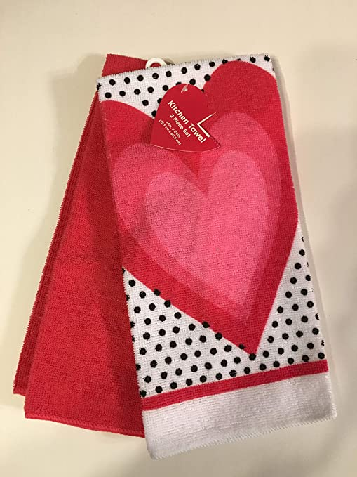 Amazon Com Valentine Heart And Black Polka Dot Dish Towel Set Of 2