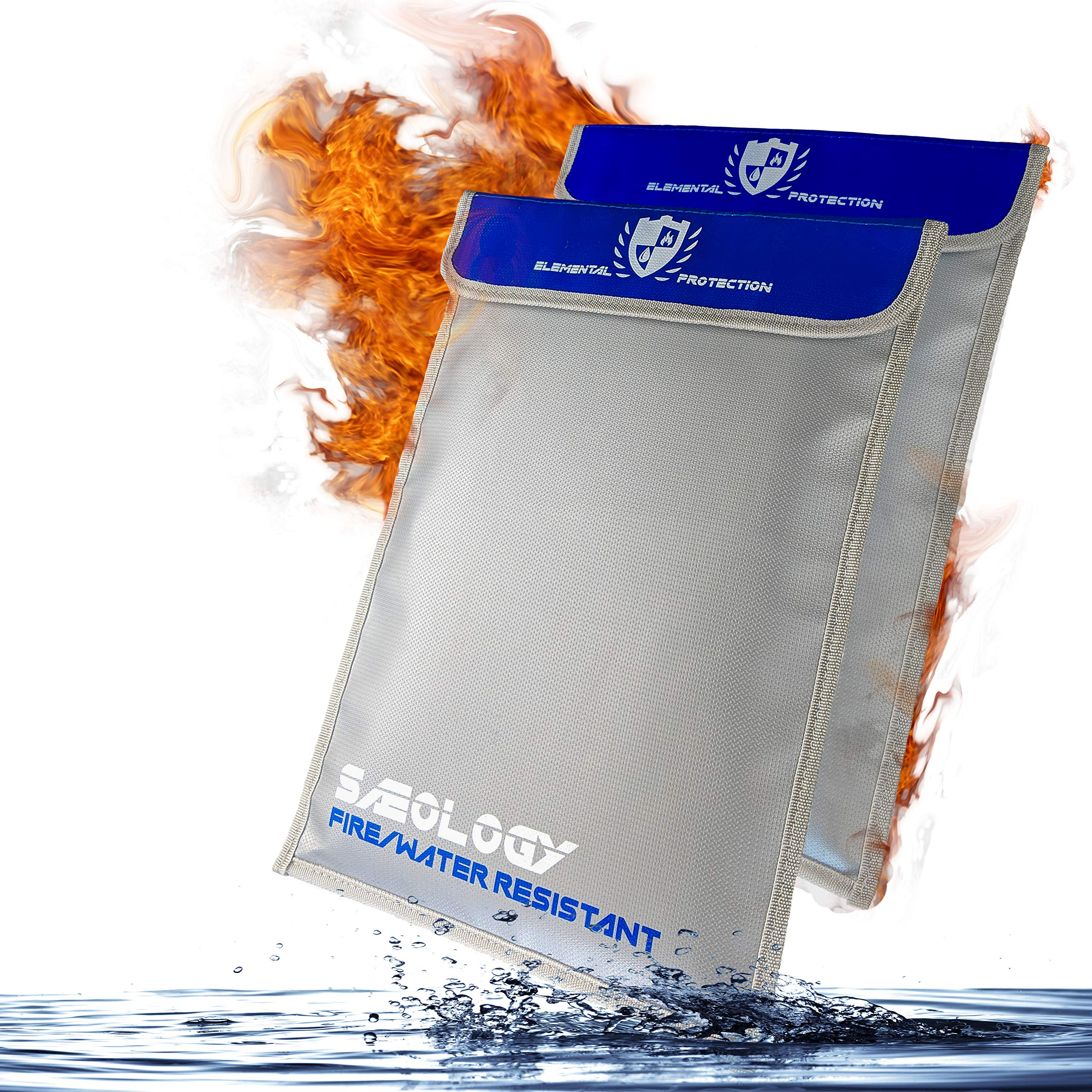 Saeology Fireproof Waterproof Document Bag - Two Pack, Extra Storage Pouch for Documents Money Passport and Valuables - Extra Strength Fire Retardant Coated Seams by Saeology