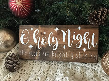 Christmas Wood Signs.Amazon Com O Holy Night Wood Sign Christmas Wood Sign