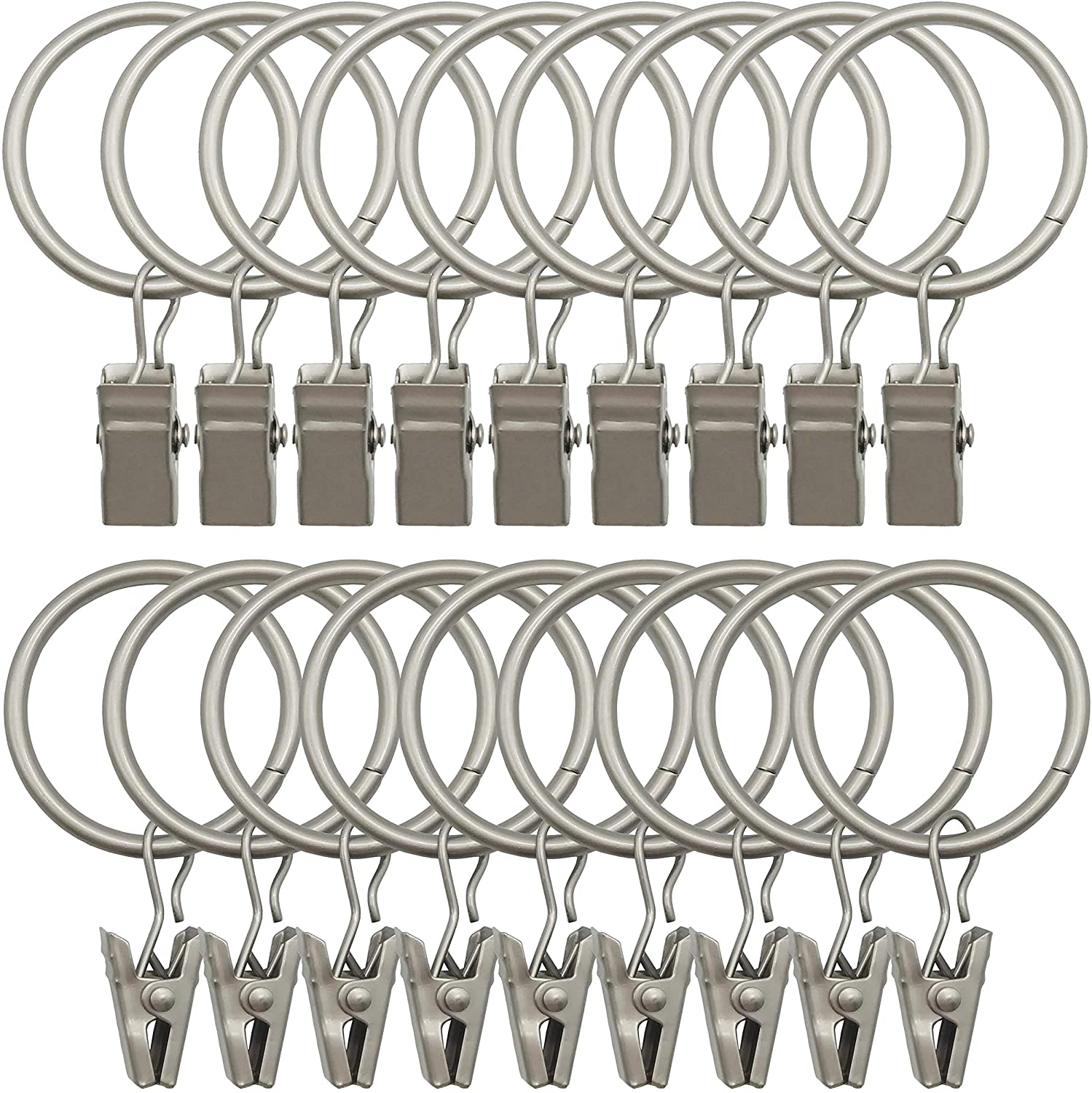 42 Pack Curtain Rings with Clips Decorative Drapery Rustproof Vintage Interior