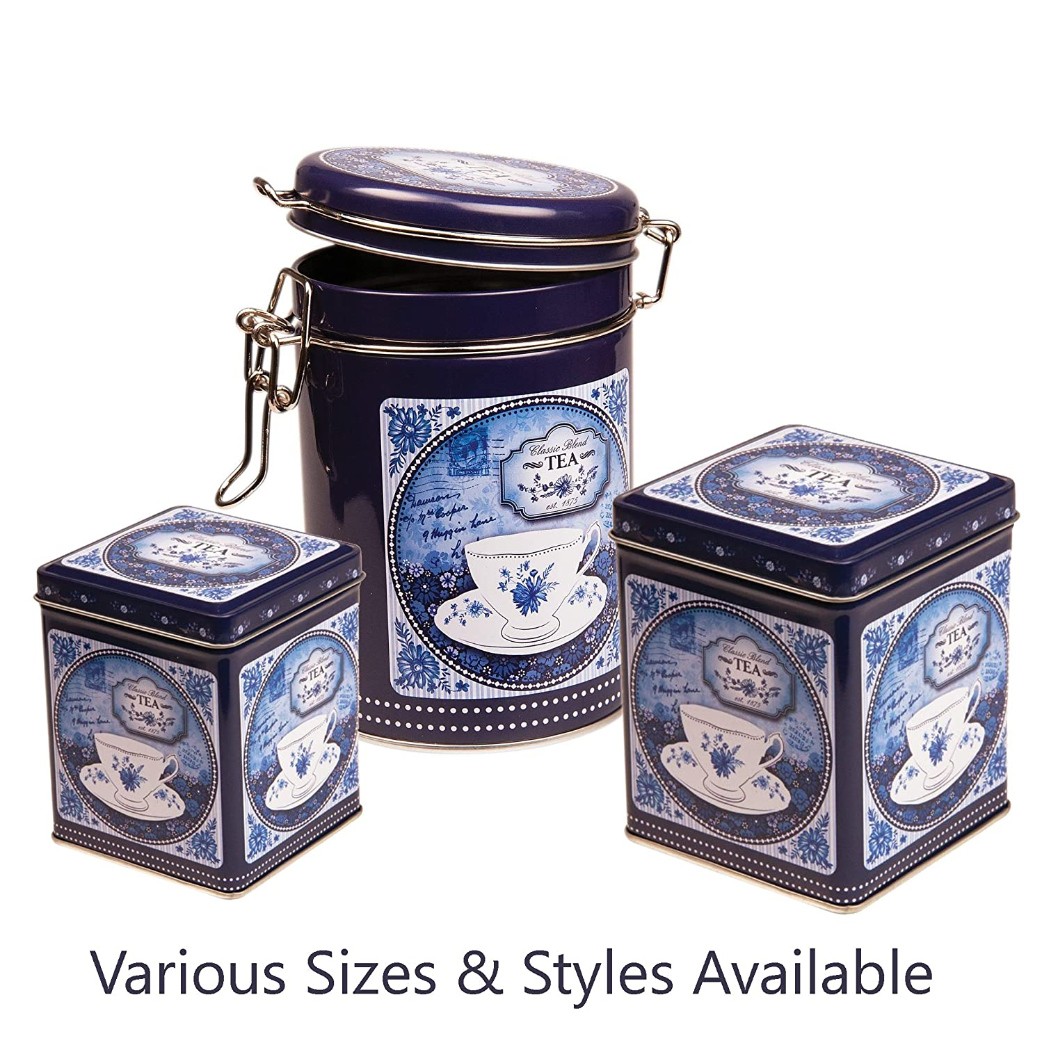 CHINA BLUE - Classic Blend Retro Vintage Style SQUARE Hinged Lid 100g Tea Caddy / Kitchen Storage Tin - Blue & White - 9.5cm Buzz