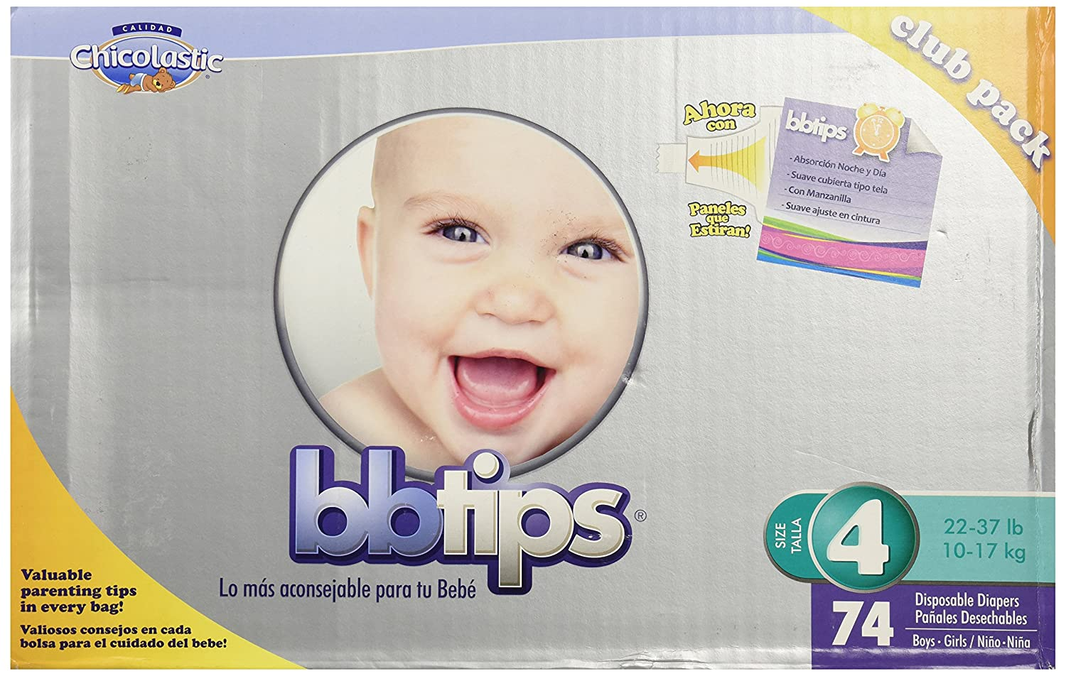 Amazon.com: Chicolastic Bbtips Infant Disposable Ultra Diapers, Large, Size 4, 74 Count: Health & Personal Care