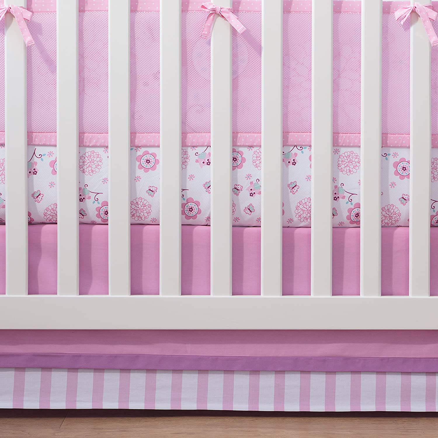 BreathableBaby Cotton Crib Skirt, Pink/Pink 15113