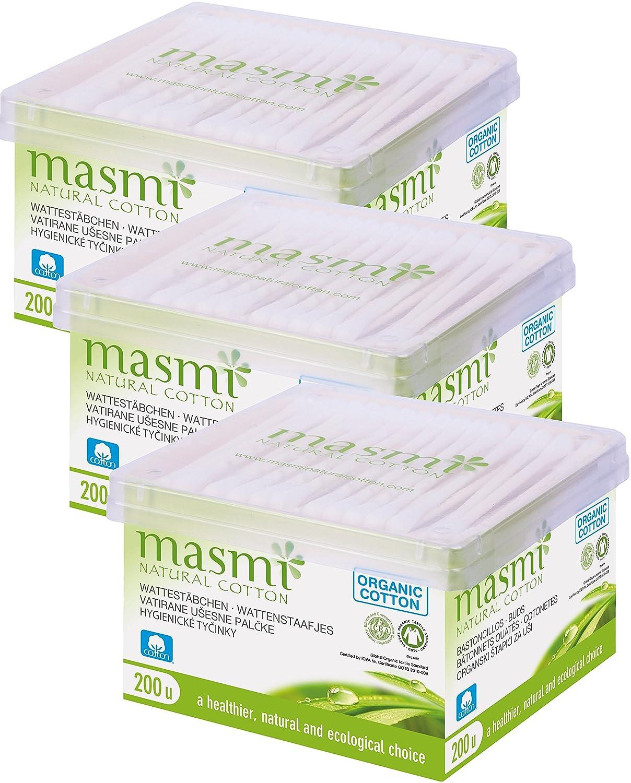 Masmi Natural Cotton Bio cosmetici di incenso, confezione da (3X 200pezzi) 60