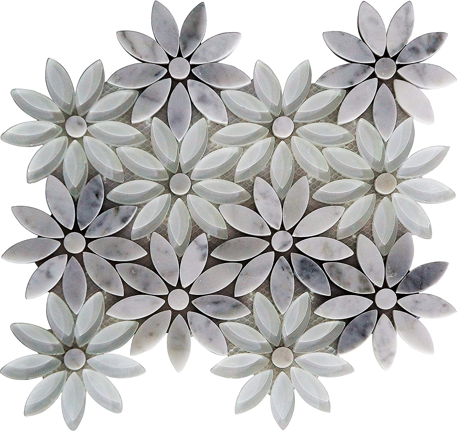 """Snow Flower"""" Carrera Marble and White Glass Flower Petals Mosaic"""