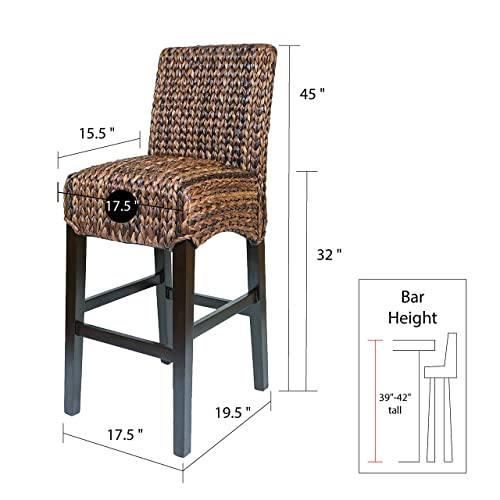 BIRDROCK HOME Bird Rock Seagrass Barstool Bar Height – Hand Woven – Mahogany Wood Frame – Fully Assembled