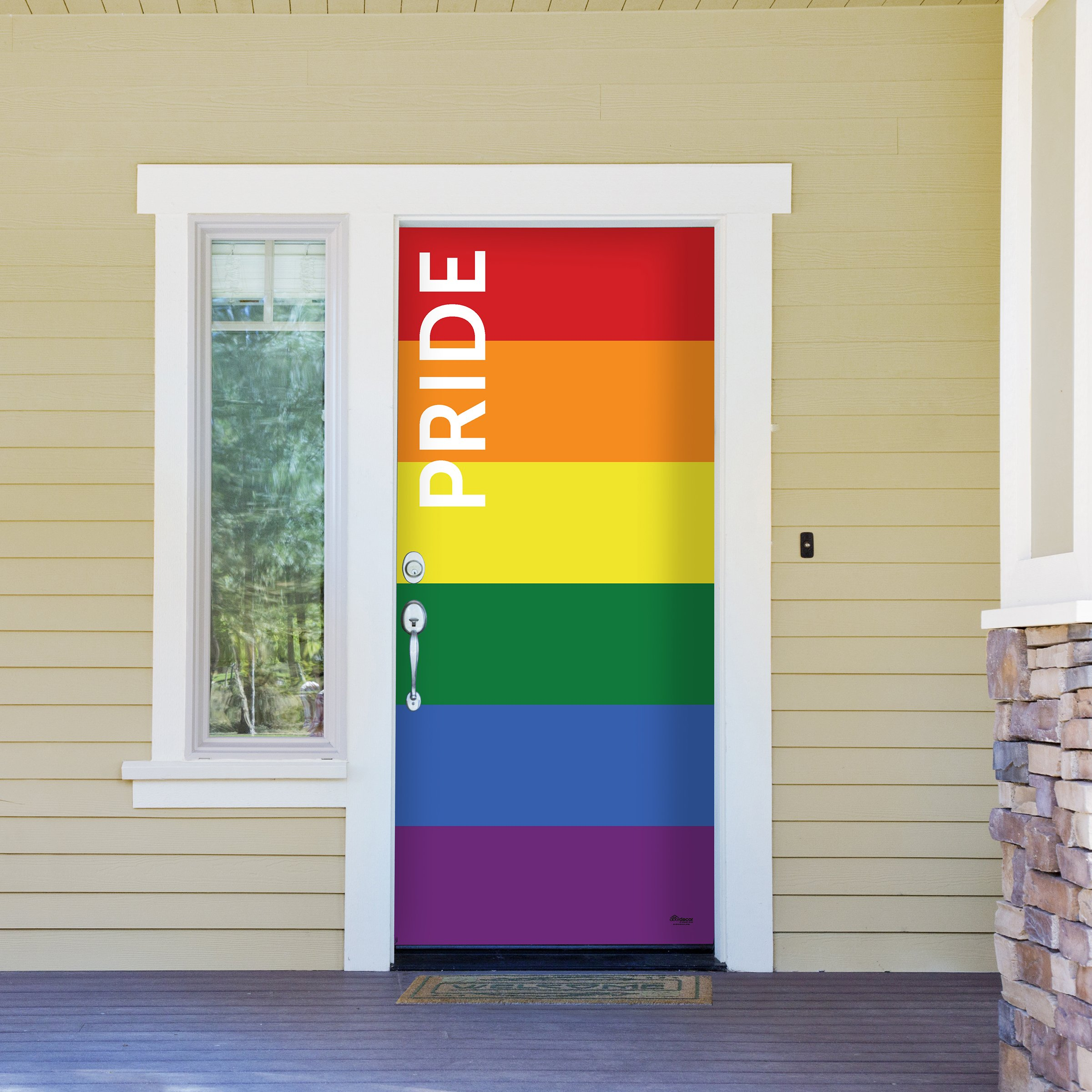 Victory Corps Pride Text - Outdoor PRIDE LGBT Garage Door Banner Mural Sign Décor 36'' x 80'' Front Door -The Original Holiday Front Door Banner Decor