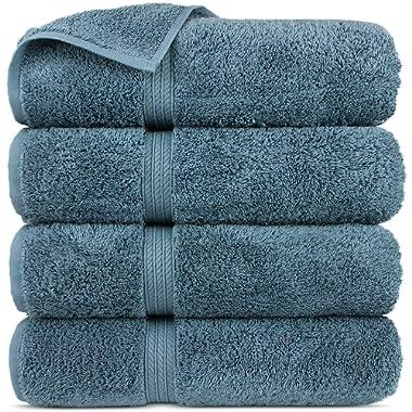 Premium Turkish Cotton 4-Striped Border Eco-Friendly and Long Stable Bath Towel (True Blue, Set of 4)