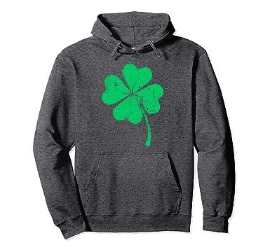 Irish St Patricks Day Green Four Leaf Clover Toddler Hooded Sweatshirt