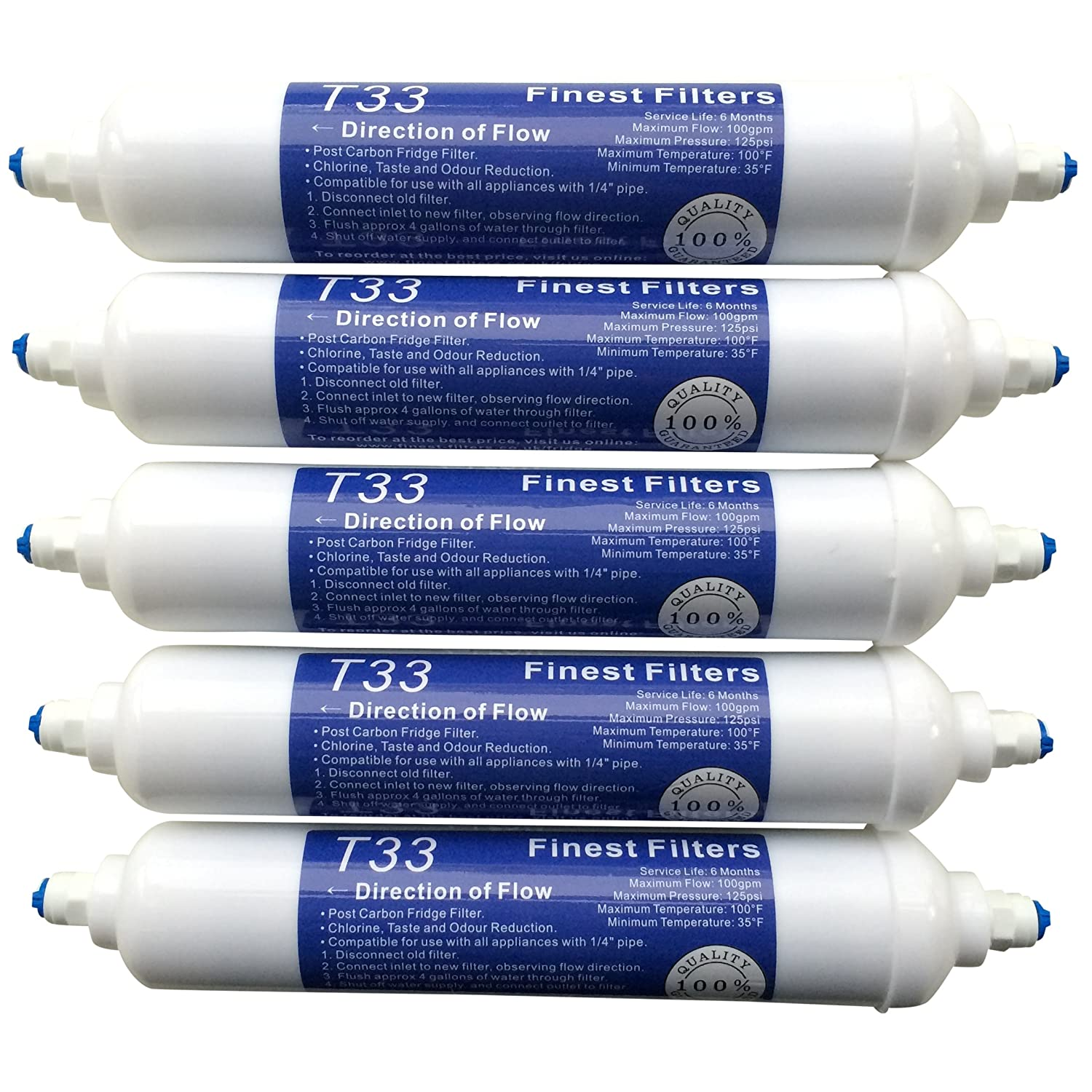 5 x In Line Fridge Water Filters Compatible with Samsung, Daewoo, LG etc Finest-Filters
