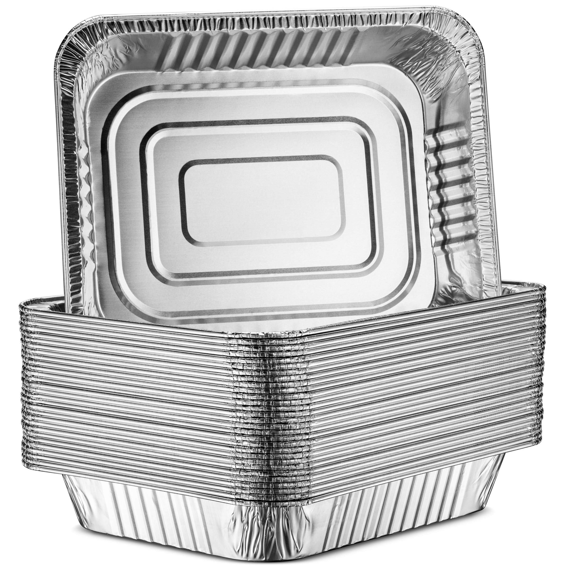"""30-Pack Aluminum Half-Size Roasting Pans - Super-Thick 9x13"""" Standard Size Chafing Pans Tins - Eco-Friendly Recyclable Aluminum - Portable Food Storage Containers - By MontoPack (Aluminum)"""