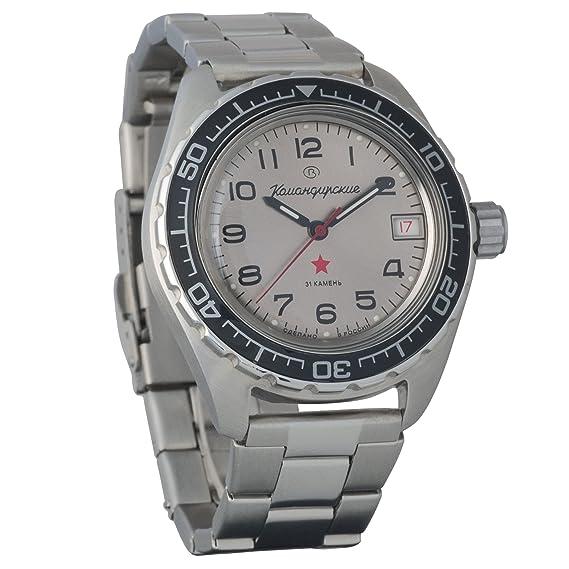 Vostok Komandirskie 200 WR - Reloj de pulsera mecánico automático para hombre # 020708: Amazon.es: Relojes