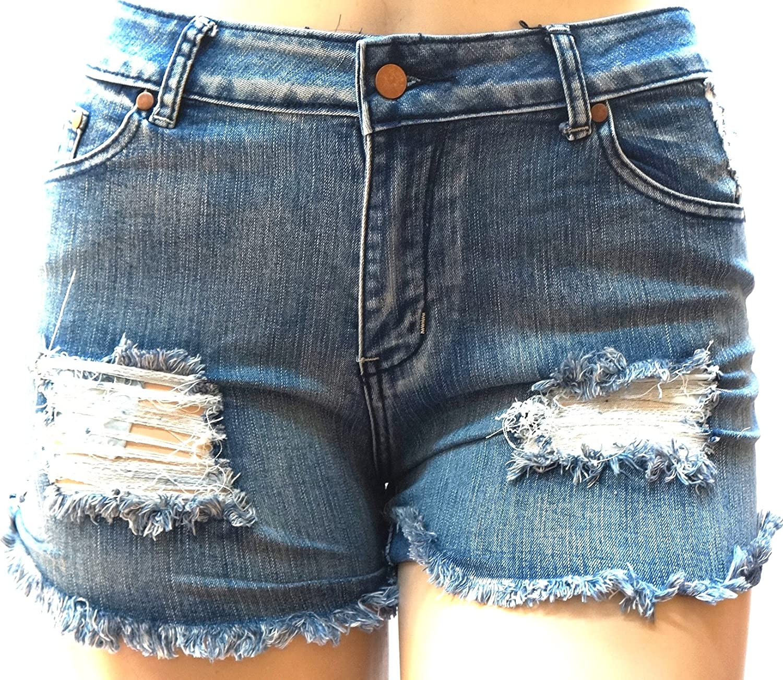 892c1aedcdf 1826 Jeans Z.N.B Women s Plus Size Destroy Short Stretch Distressed Ripped  Blue Denim Jeans
