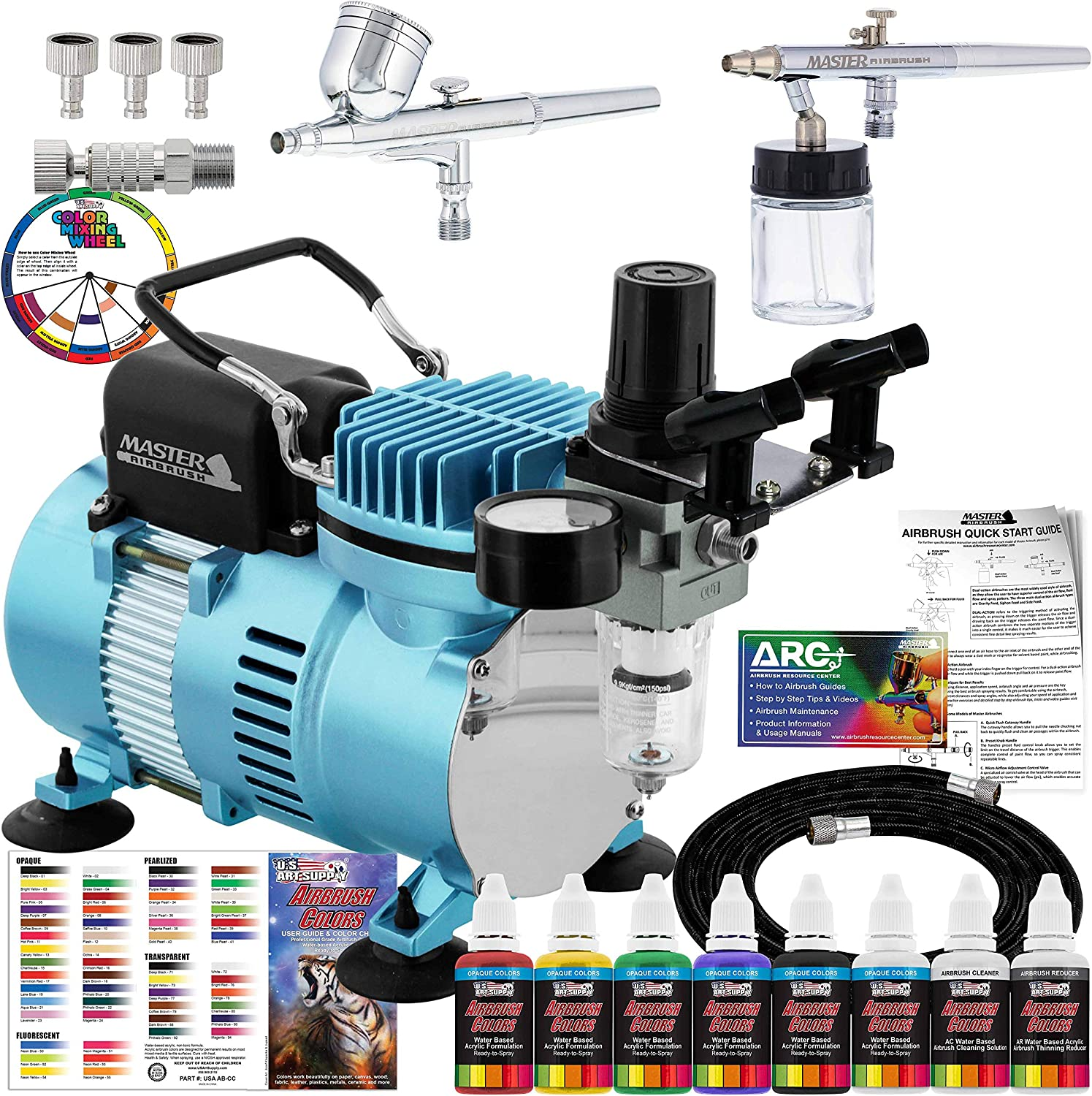 Master Airbrush Cool Runner II Dual Fan Air Compressor Airbrushing Acrylic Paint System Kit with 2 Professional Airbrushes, Hose - 6 Primary Acrylic Paint Colors Artist Set - How To Guide, Color Chart