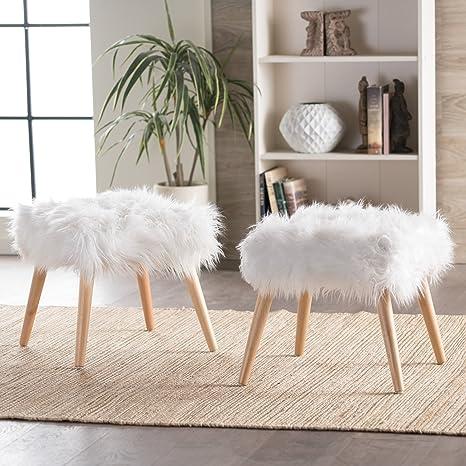 Terrific Furniture Creations Koehler Home Decor Fuzzy Ottoman Pouf White Set Of 2 White Ottomans Machost Co Dining Chair Design Ideas Machostcouk