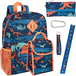Boy's 6 in 1 Backpack Set With Lunch Bag, Pencil Case, and Accessories (Dinos)